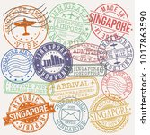 singapore city stamp vector art ... | Shutterstock .eps vector #1017863590
