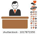 office clerk icon with bonus... | Shutterstock .eps vector #1017872350
