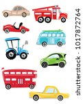 set of cartoon transport.... | Shutterstock .eps vector #1017872764