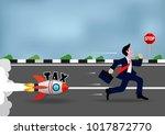 businessman runs away tax in... | Shutterstock .eps vector #1017872770