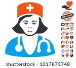 physician lady icon with bonus... | Shutterstock .eps vector #1017873748