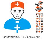 priest doctor pictograph with... | Shutterstock .eps vector #1017873784