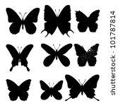 butterflies silhouettes on... | Shutterstock .eps vector #101787814