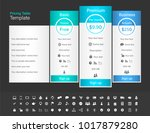 pricing table with 3 plans and... | Shutterstock .eps vector #1017879280