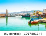 old port with ancient... | Shutterstock . vector #1017881344