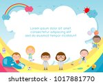 back to school  kids school ... | Shutterstock .eps vector #1017881770