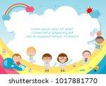 back to school  kids school ... | Shutterstock .eps vector #1017881770