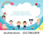 back to school  kids school ... | Shutterstock .eps vector #1017881809