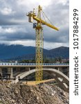 construction of a viaduct with... | Shutterstock . vector #1017884299