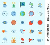icons about universe with uran  ... | Shutterstock .eps vector #1017887530