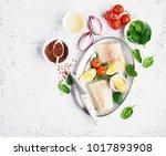 fresh white sea fish cod... | Shutterstock . vector #1017893908
