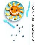 concept kid breakfast with...   Shutterstock . vector #1017895990