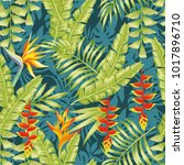 hand drawn colorful exotic... | Shutterstock .eps vector #1017896710