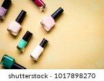 set for nail polish on orange... | Shutterstock . vector #1017898270
