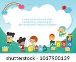 children collect rubbish for... | Shutterstock .eps vector #1017900139