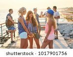 friends having a pleasant...   Shutterstock . vector #1017901756