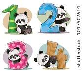 set of cute baby panda bears... | Shutterstock .eps vector #1017902614