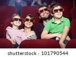 smiling family in the 3d movie... | Shutterstock . vector #101790544