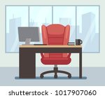 modern boss room with big... | Shutterstock .eps vector #1017907060