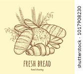 fresh bread vector illustration.... | Shutterstock .eps vector #1017908230