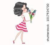 cute girl with flowers.children ... | Shutterstock .eps vector #1017924730