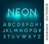 neon light alphabet font.... | Shutterstock .eps vector #1017925018