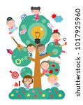 kids studying on tree with... | Shutterstock .eps vector #1017925960