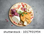 cheese platter with assorted... | Shutterstock . vector #1017931954