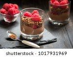 chocolate dessert in glasses... | Shutterstock . vector #1017931969