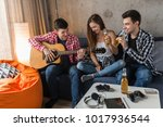 happy young people having fun ... | Shutterstock . vector #1017936544