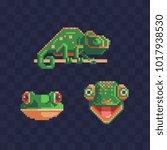 chameleon pixel art style icon...