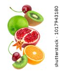 falling fruits isolated on... | Shutterstock . vector #1017943180