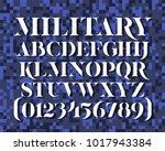 military stencil serif typeface.... | Shutterstock .eps vector #1017943384
