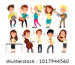 schoolkids playing music on... | Shutterstock .eps vector #1017944560