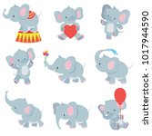 Stock vector funny cartoon baby elephants vector collection for kids stickers elephant funny character with 1017944590