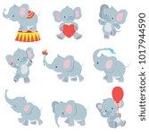 funny cartoon baby elephants... | Shutterstock .eps vector #1017944590