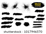 set of black paint  ink  grunge ... | Shutterstock .eps vector #1017946570