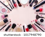 makeup brush and decorative... | Shutterstock . vector #1017948790