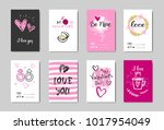 happy valentines day cards set... | Shutterstock .eps vector #1017954049