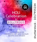 holi creative flyer  banner... | Shutterstock .eps vector #1017955234