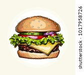 hamburger. fast food. engraving ... | Shutterstock .eps vector #1017958726