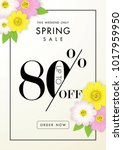 spring sale background with...   Shutterstock .eps vector #1017959950
