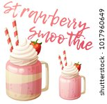 strawberry smoothie dessert... | Shutterstock .eps vector #1017960649