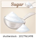white sugar in metallic spoon.... | Shutterstock .eps vector #1017961498
