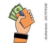 color hand with bill cash money ... | Shutterstock .eps vector #1017970138