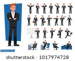 set of businessman showing... | Shutterstock .eps vector #1017974728