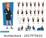 set of business woman showing... | Shutterstock .eps vector #1017975610