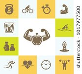 attractive icon set of fitness. ... | Shutterstock .eps vector #1017977500