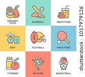 modern icons set fitness.... | Shutterstock .eps vector #1017979126