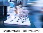 robotic machine tool in... | Shutterstock . vector #1017980890
